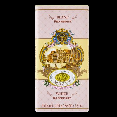 Tablette blanc ivoire arôme Framboise 100g