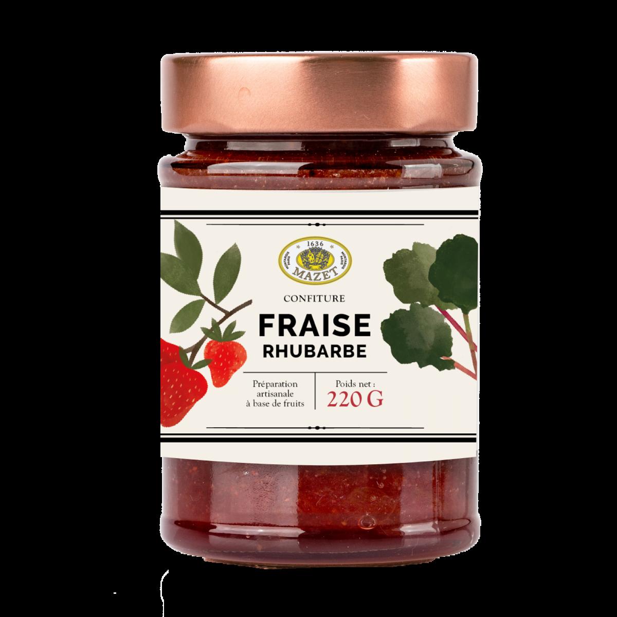 Confitures - Confiture fraise rhubarbe 220g